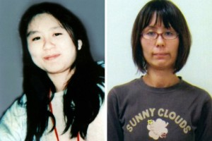 Combination handout photo of former AUM Shinrikyo cult member Naoko Kikuchi in 1995 and in 2012