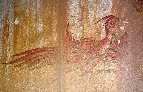 Phoenix Red-Bird-of-the-South-painting-Kitora-Tomb